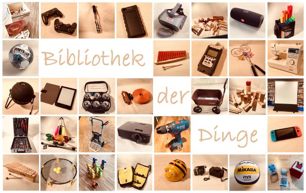 """Collage mit ausleihbaren Sachen - Überschrift """"Bibliothek der Dinge"""""""