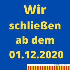 Die Stadtbücherei Würzburg schließt ab dem 01.12.2020