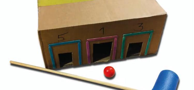 Schlager, Ball und Kiste mit drei Löchern - Minigolfkiste