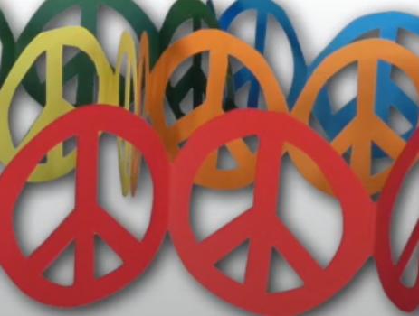 viele Peacezeichen aneinander in unterschiedlichen Farben